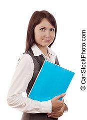 femme, livre, business, tenue