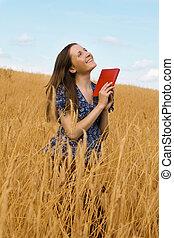 femme, livre, champ, céréales