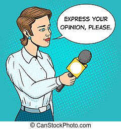 femme, livre, microphone, comique, vecteur, journaliste