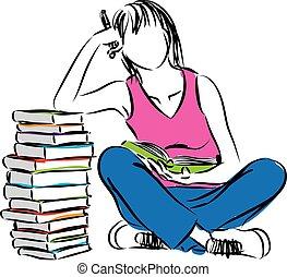 femme, livres, illustration