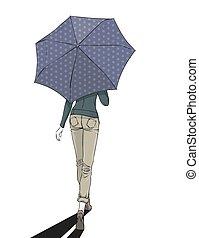 femme, longueur, entiers, élégant, parapluie