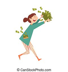 femme, lot, réussi, jeune, argent, chanceux, vecteur, illustration, riche, riche, fille souriante, heureux