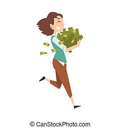 femme, lot, réussi, jeune, argent, chanceux, vecteur, illustration, riche, riche, girl, heureux