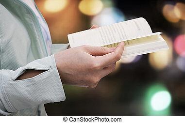 femme, lumière, jeune, bokeh, livre, fond, lecture