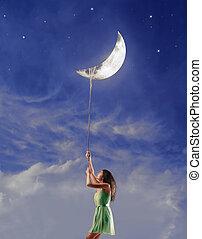 femme, lune
