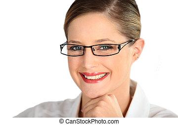 femme, lunettes