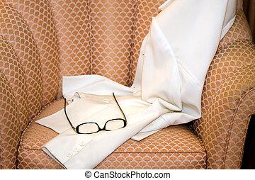 femme, lunettes, manteau