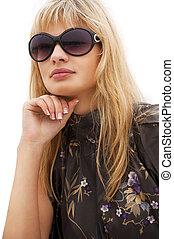 femme, lunettes soleil, blonds