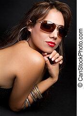 femme, lunettes soleil