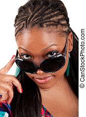femme, lunettes soleil, jeune, charme, noir, portrait