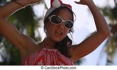 femme, lunettes soleil, soleil, jeune, exotique, island., apprécier, chapeau, noël, heureux