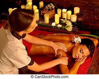 femme, luxary, thérapie, spa, intérieur, oriental, salon., masage