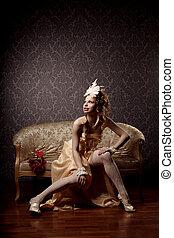 femme, luxueux, vintage-style