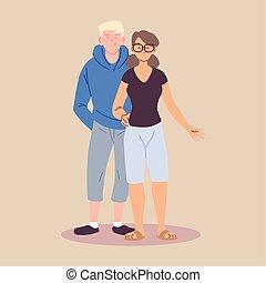 femme, mâle, debout, vêtements occasionnels