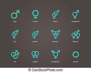 femme, mâle, sexuel, orientation, icons.