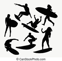 femme, mâle, sport, surfeur