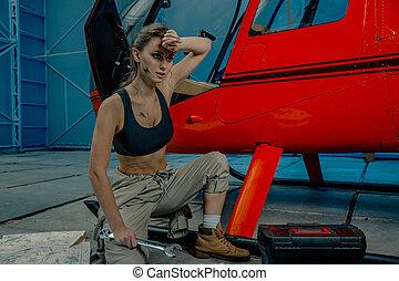 femme, mécanicien, femail, ou, wrench., réglable, tenue, ...