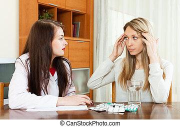 femme, médicament, prescrire, adulte, docteur