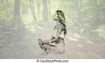 femme méditer, forêt