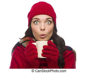 femme, mélangé, porter, gants, hiver, tient, observé, large, grande tasse, course