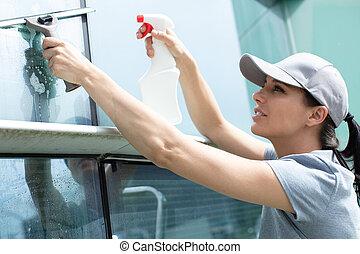 femme ménage, concept, service