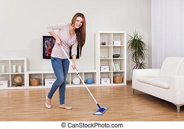 femme ménage, jeune, plancher