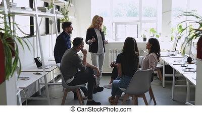 femme, mûrir, heureux, communiquer, équipe, mentor,...