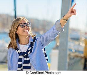 femme, mûrir, pointage, heureux