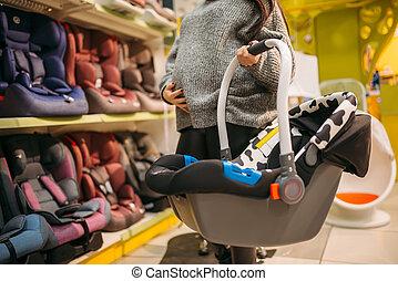 femme, magasin, portable, lit, pregnant