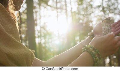 femme, magie, forêt, rituel, ou, sorcière, exécuter