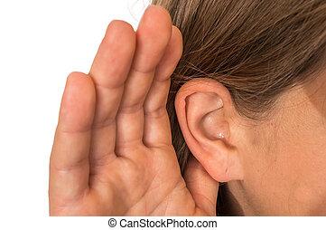 femme, main, écoute, oreille, elle