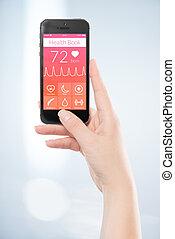 femme, main, est, tenue, noir, mobile, intelligent, téléphone, à, santé, livre, app, sur, les, screen.
