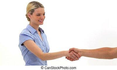 femme, main tremblante, blond