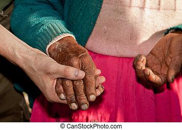 femme, mains, amérique, vieux, sud