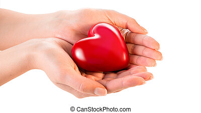 femme, mains, donner, coeur, -, amour