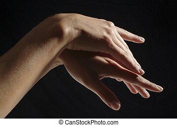 femme, mains