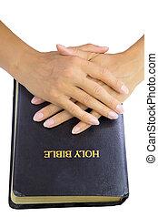 femme, mains par-dessus, bible sainte