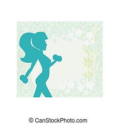 femme, mains, poids, deux, haltère, crise, elle, exercisme
