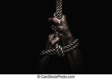 femme, mains, prisonnier, limite, salle