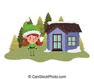 femme, maison, elfe, neige, arbres, pin, tomber