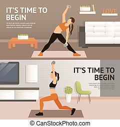maison s ance entra nement fitness affiche commencer femme style de vie affiche s ance. Black Bedroom Furniture Sets. Home Design Ideas