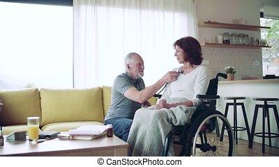 femme, maison, visiteur santé, fauteuil roulant, visit.,...