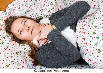 femme malade, obtenir, grippe