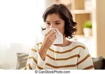 femme, malade, papier soie, nez, souffler, maison