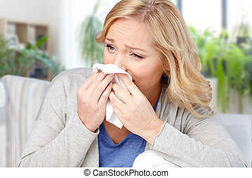 femme, malade, tissu, nez, souffler, maison