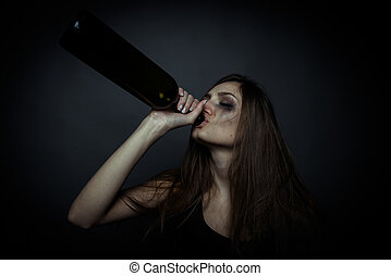 femme, malheureux, alcoolisme mondain, jeune, problem., alcool, bouteille