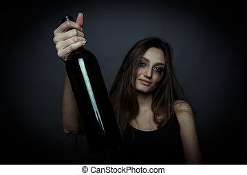 femme, malheureux, social, jeune, problem., usages, alcool, bouteille