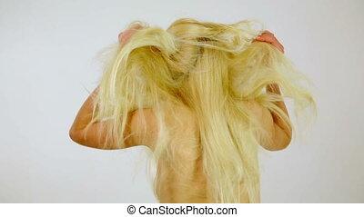 femme, malsain, faible, jeune, malheureux, cheveux, désordre