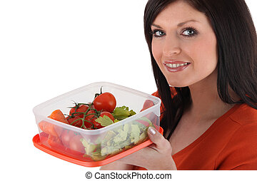 femme mange, a, casse-croûte sain