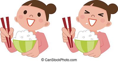 femme mange, délicieux, riz